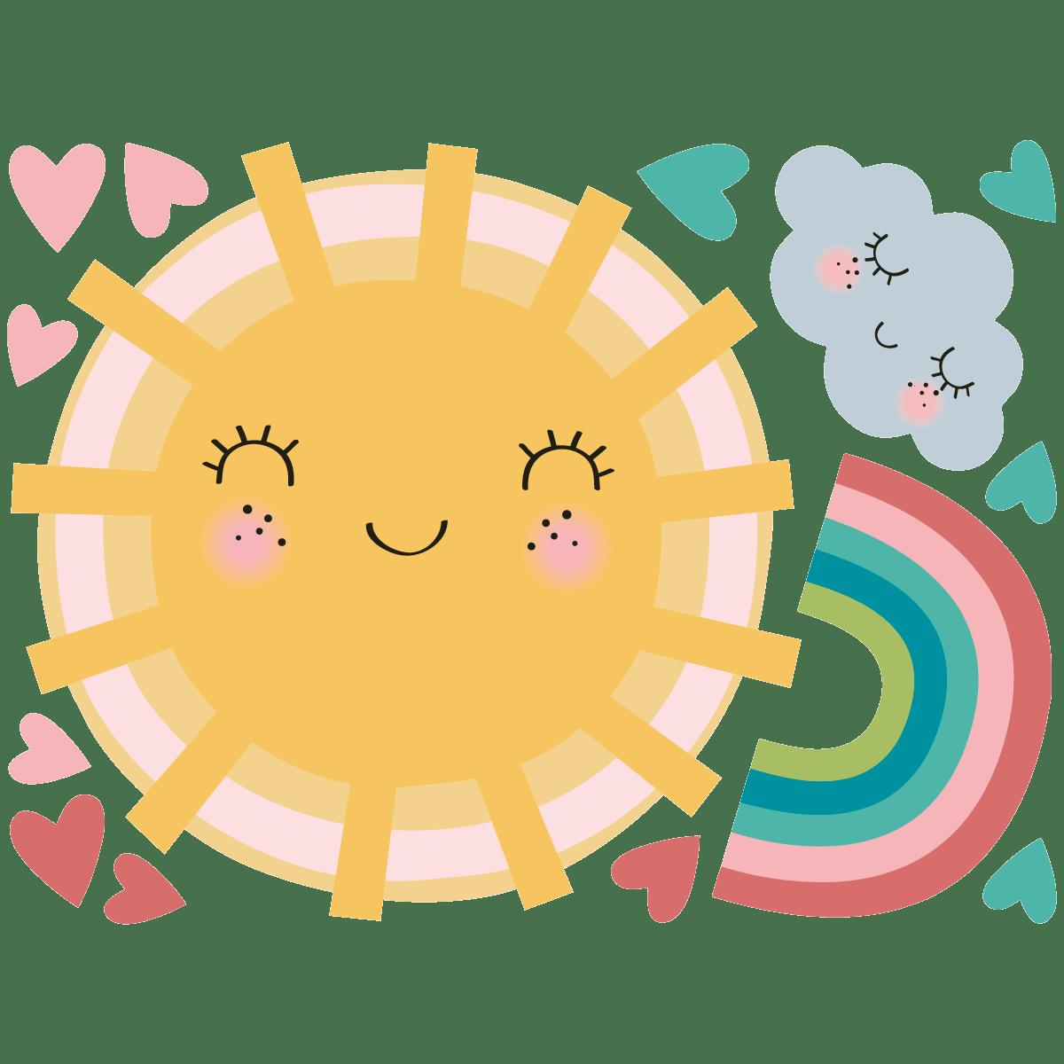 sticker soleil amoureux de l arc en