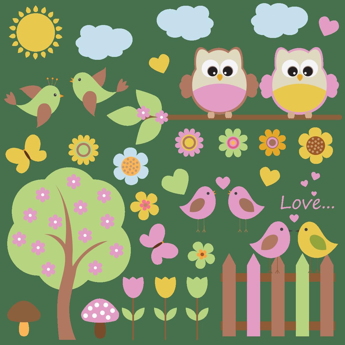 stickers enfant hiboux au printemps
