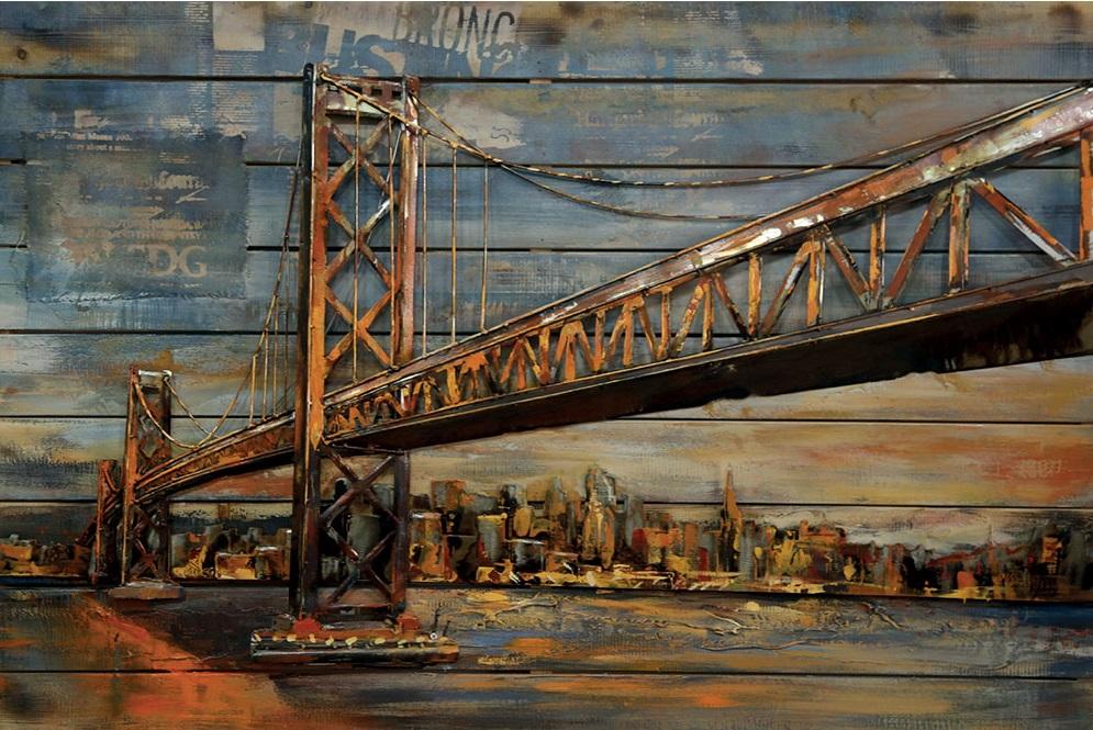 tableau art metal bois 3d pont metallique
