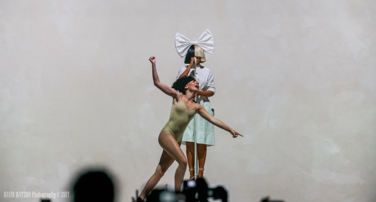 Sia performing live in Auckland, New Zealand, 2017. Image By David Watson.