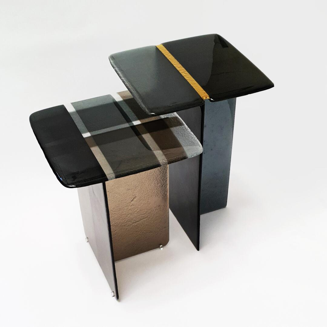 cast glass side tables so coffee by