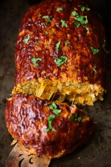 Cheddar Stuffed Sweet Potato BBQ Turkey Meatloaf picture by Ambitious Kitchen