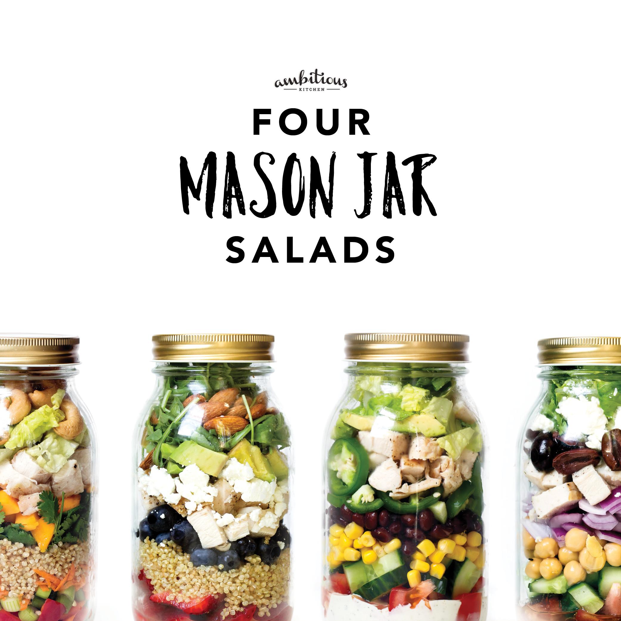 Four Mason Jar Salads