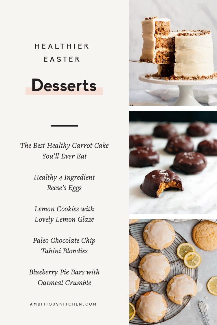 collage of healthier easter desserts