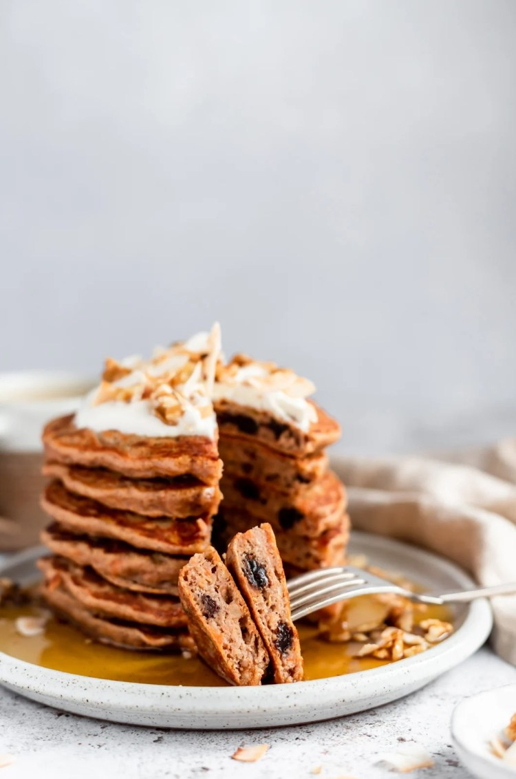 plate of healthy carrot cake pancakes