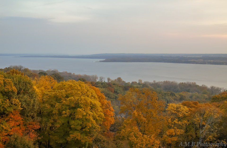 A sunrise, landscape view of the Illinois River from Grandview Drive in Peoria, IL.
