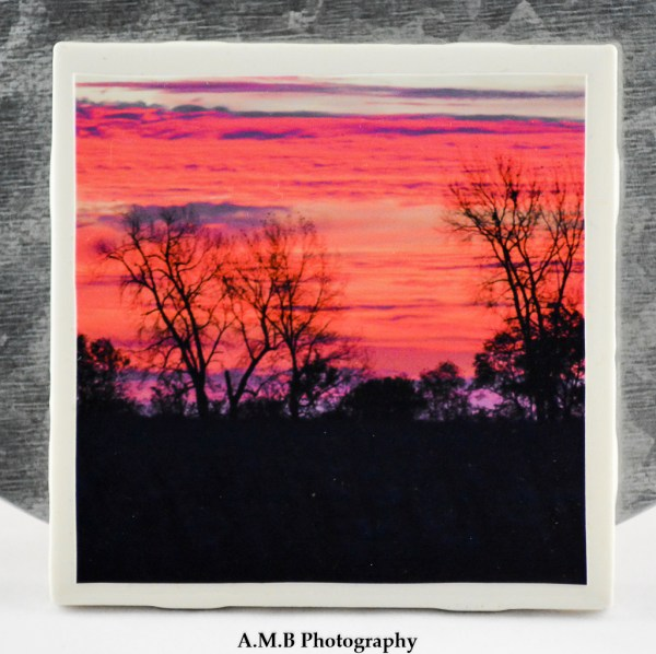 1 from the set of 4 Country Sunrise Coasters featuring a series of images highlighting country sunrises in the Fall of 2017, captured in LaSalle and Marshall Counties in Illinois. Coasters designed and made in the Fall of 2018.