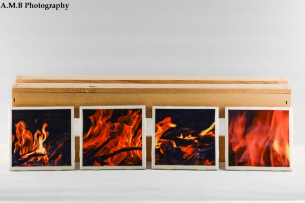 Set of 4 white tile coasters featuring my series of Fire images. They were captured on Labor Day, 2017. Coasters designed and made in the Fall of 2018.
