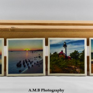 Set of 4 Grand Marais Coasters featuring a series of images from our vacation to the quaint town in Michigan in the Summer of 2014. Coasters designed and made in the Fall of 2018.