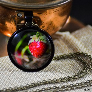 A red Strawberry set in a dark black bezel with a brass chain. Image captured in the Spring of 2018 and pendant created in the Winter of 2019.