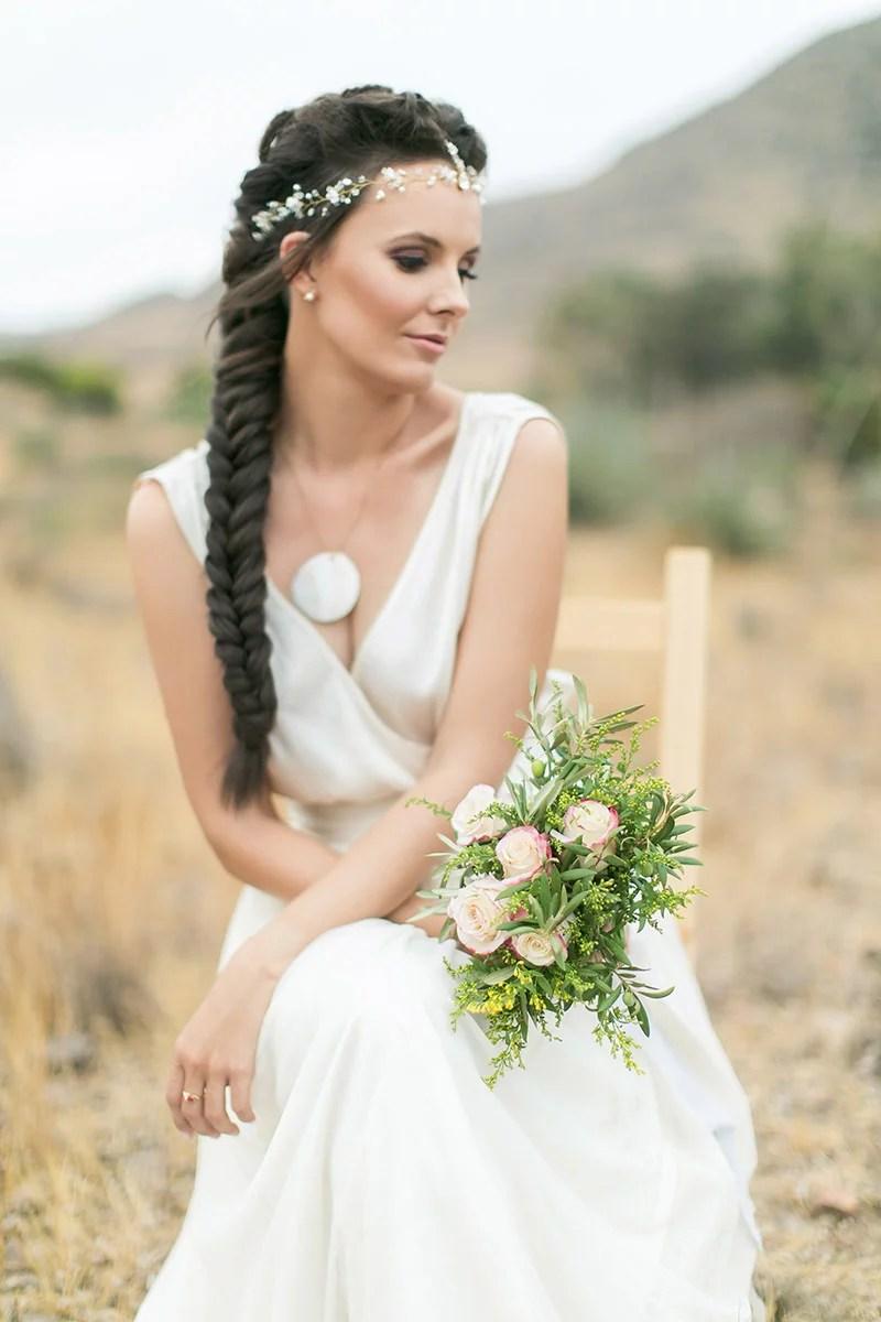 Hochzeit in Andalusien, Brautstrauss aus Olivenzweigen und Rosen, Desert Wedding