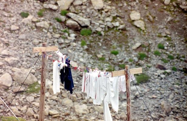 Was op waslijn bij berghut tijdens wandelreis naar nationaal park La Vanoise in Frankrijk