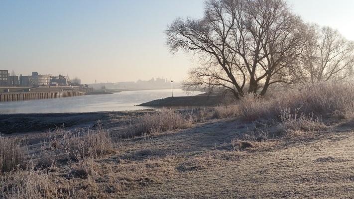 Wandelen in Park Lingezegen over het Waterpad in de uiterwaarden van de Nederrijn bij Arnhem