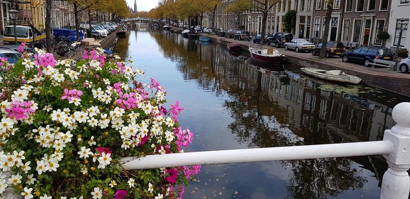 Wandelen over het Romeinse Limespad bij bloemen aan de grachten in Leiden