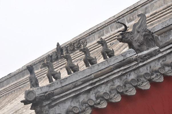 Detail verboden stad tijdens stadswandeling in Peking China