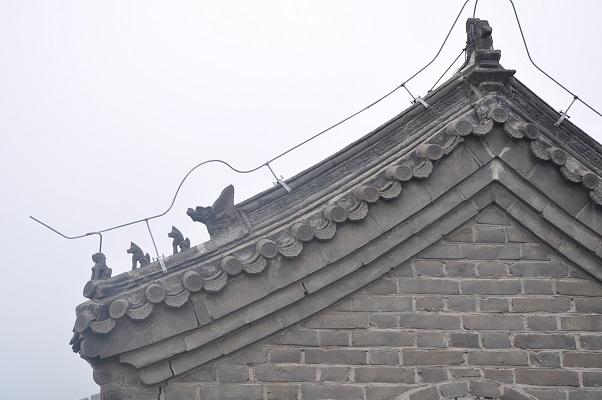 Detail van de muur tijdens een wandeling over de Chinese Muur in China
