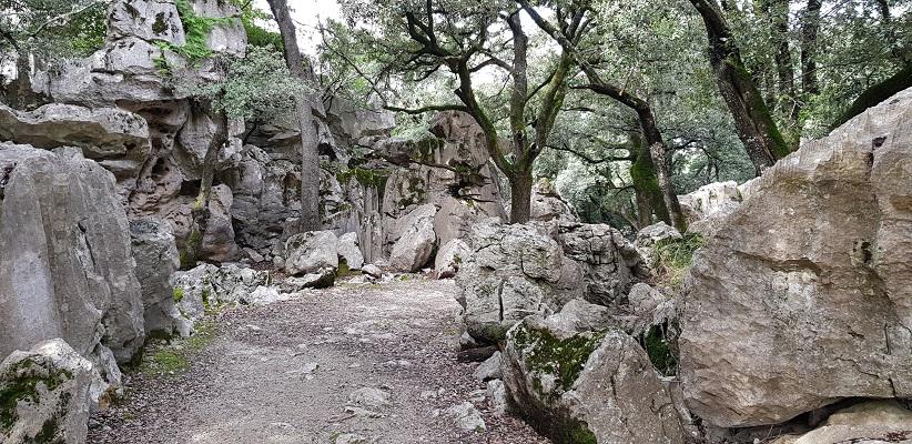 Rotspartijen bij klooste Lluc op wandelvakantie in Tramuntanagebergte op Spaans eiland Mallorca