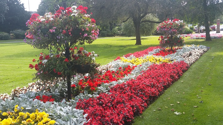 Bloemenpracht in park Carlisle tijdens wandeling van Lanercost naar Carlisle tijdens wandelreis over Muur van Hadrianus in Engeland