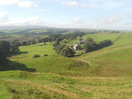Landschap bij Once Brewed op een wandeling van Once Brewed naar Lanercost op wandelreis over Muur van Hadrianus in Engeland