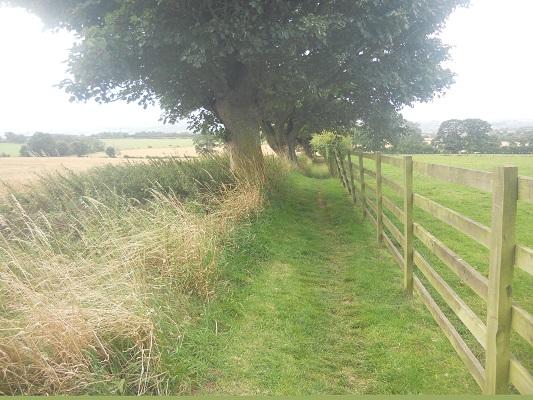 Wandelpad op een wandeling van Wallsend naar Heddon on Wall op een wandelreis over de Muur van Hadrianus in Engeland