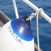 Boei van boot bij Calagonone op Italiaans eiland Sardinië