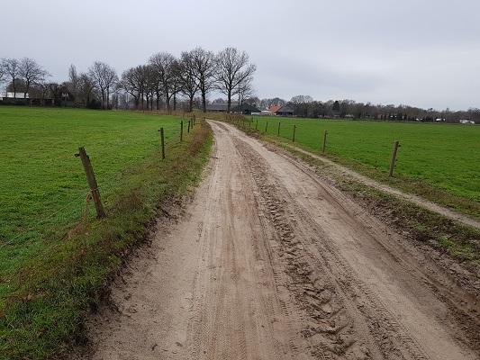 Zandweg richting Oosterhout tijdens een wandeling over het Zuiderwaterliniepad van Terheijden naar Oosterhout