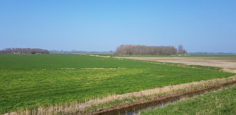 Wandelen over het Noord-Hollandpad van Nieuwesluis naar Den Oever bij polder bij Hippolytushoef