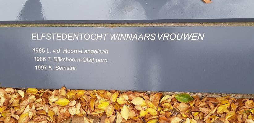 Wandeling over het Elfstedenpad van Sint Annaparochie naar Hallummerhoek bij het monument in Oude Leije voor de winnaarsters van de Elfstedentocht