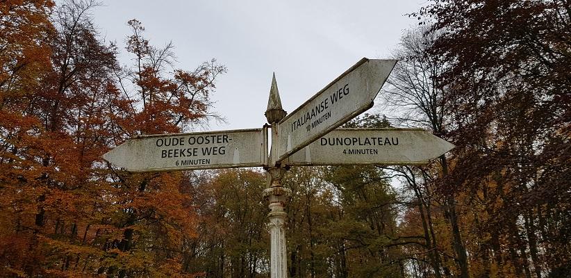 Wandeling over Klompenpad het Dorenweertsepad bij handwijzer op landgoed Duno