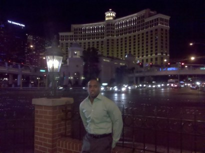 Ambus in front of Bellagio hotel in Las Vegas.