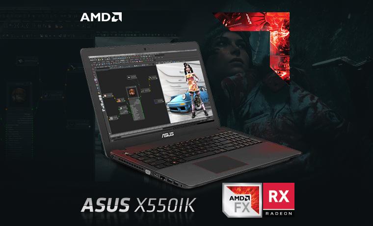 ASUS X550IK Notebook Powerful Bertenaga 7th Gen APU FX dan Radeon™ RX Polaris Terbaru, Pas Untuk Penyuka Gaming dan Editing!