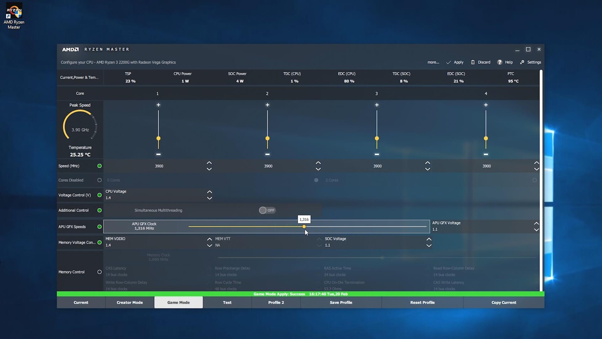 Overcloking APU Desktop Ryzen