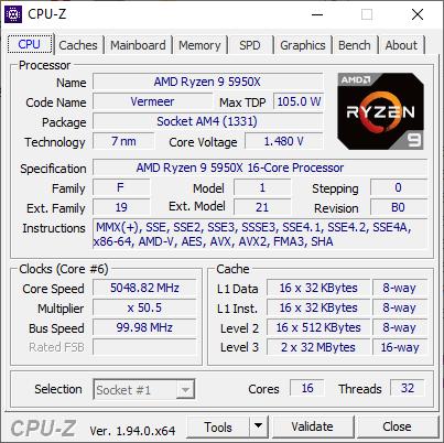 CPU-Z Ryzen 9 5950X