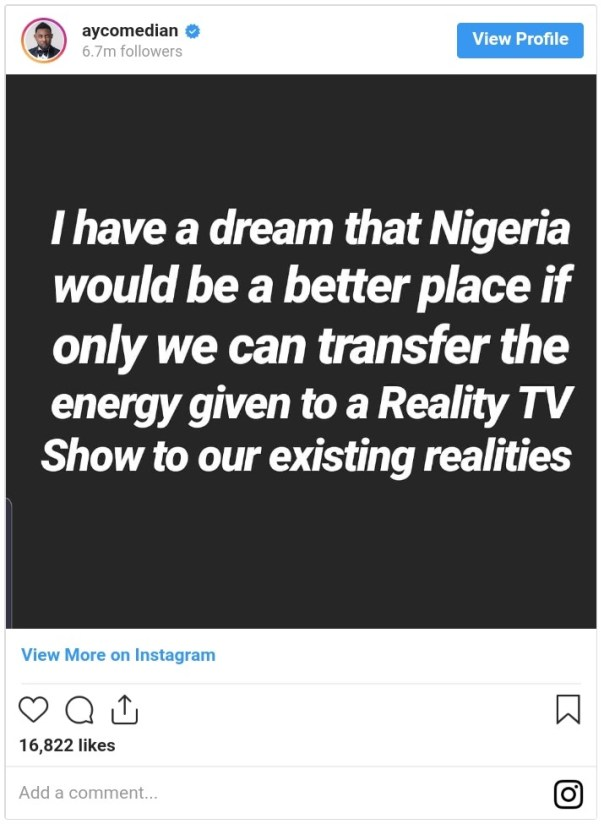 Nigeria Better Place If We Transfer Reality TV Show Energy To Existing Realities (2)