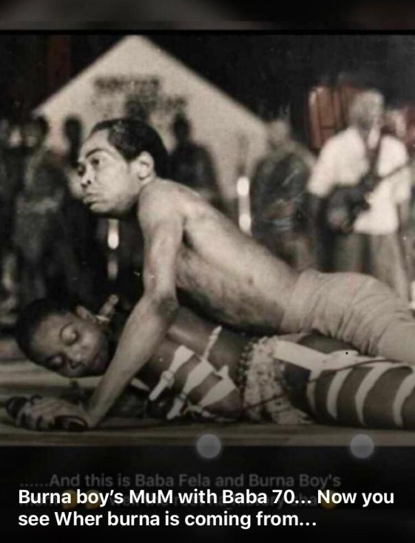 Photo Of Fela Kuti Lying On Top Burna Boy's Mother On Stage (2)