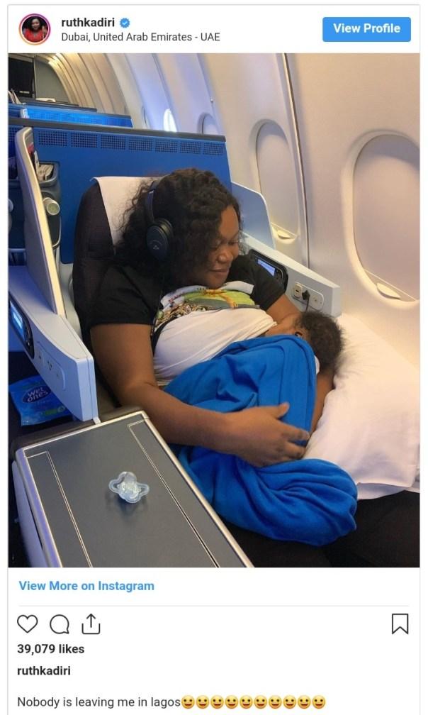 Ruth Kadiri Carries Newborn Baby And Heads To Dubai (2)