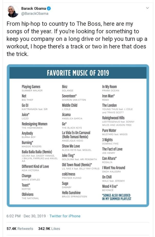 Barack Obama Favorite Music Of 2019 (2)