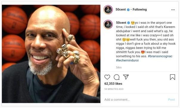 50 Cent Appreciates Kareem Abdul-Jabbar With Six Championship Rings