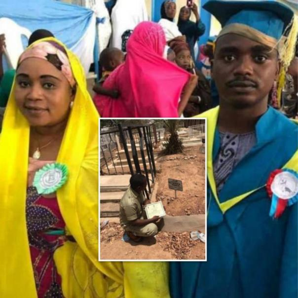 Nigerian Man Presents His NYSC Certificate To Late Mum At Grave