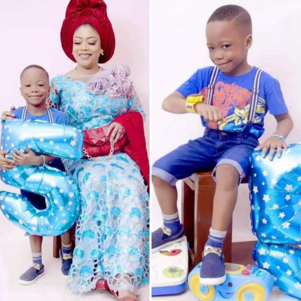 Nigerian Actress Bimbo Akinsanya Celebrates Son Eyilayomi On 5th Birthday [Photos]