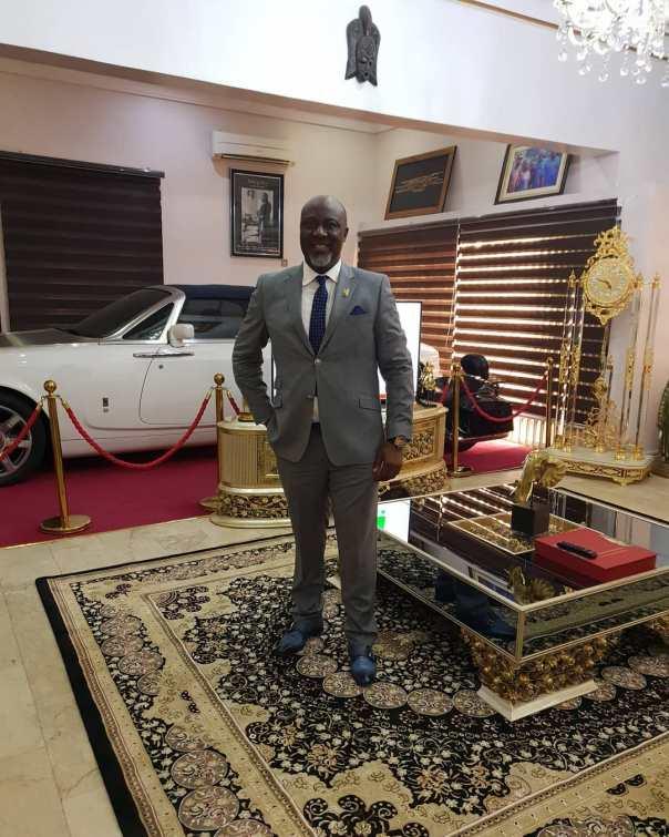 Dino Melaye Posing With His Rolls Royce In Living Room