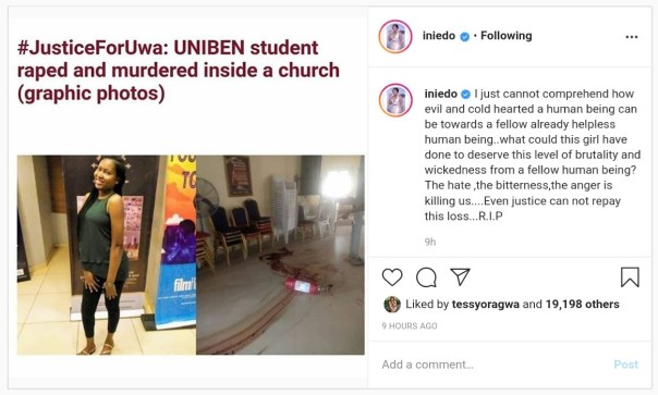 Ini Edo Reacts Death Of University of Benin Student Uwa Omozuwa (2)