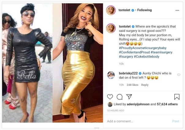 Tonto Dikeh Curses Those Who Told Her Cosmetic Surgery Isn't Good