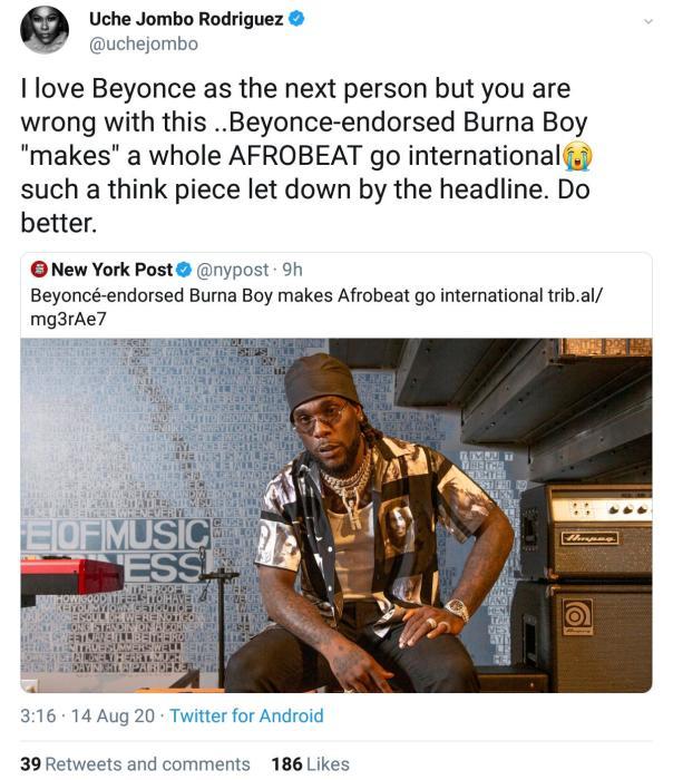Uche Jombo Drags International Newspapar New York Post (2) Amebo Book