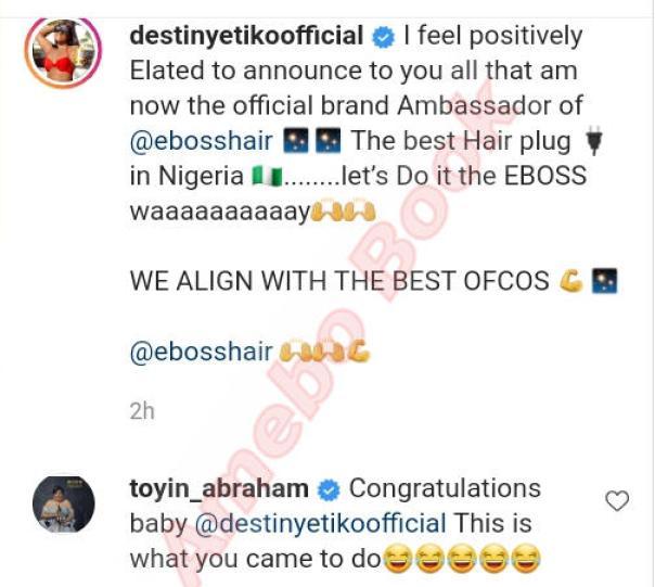 Destiny Etiko Brand Ambassador Of EBOSS HAIRS