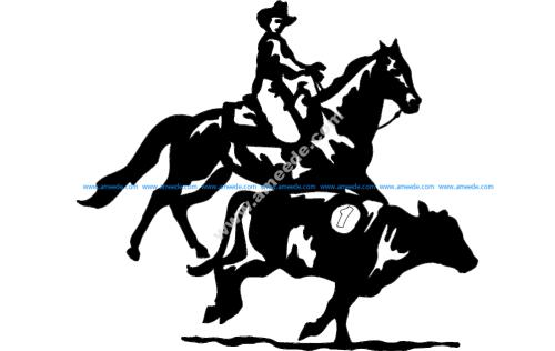 Horse Cowboy Cow