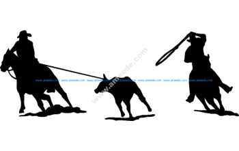 Rodeo team roping Silhouette