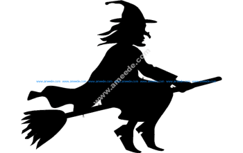 Silhouette witch flying on broomstick