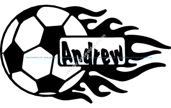 Soccer Ball With Flames And Name