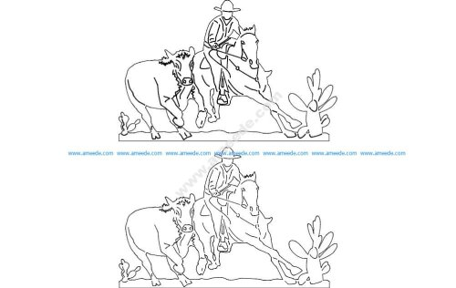 Cowboy And Rodeo Scene